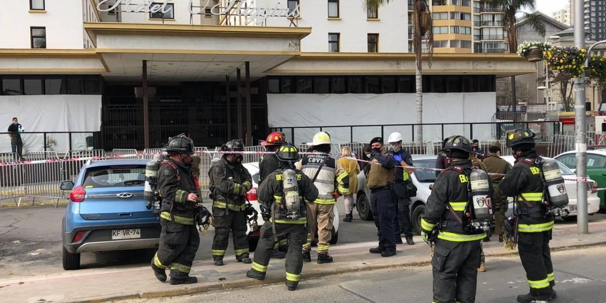 Dos funcionarios de residencia sanitaria del Hotel O'Higgins resultaron intoxicados por fuga de gas