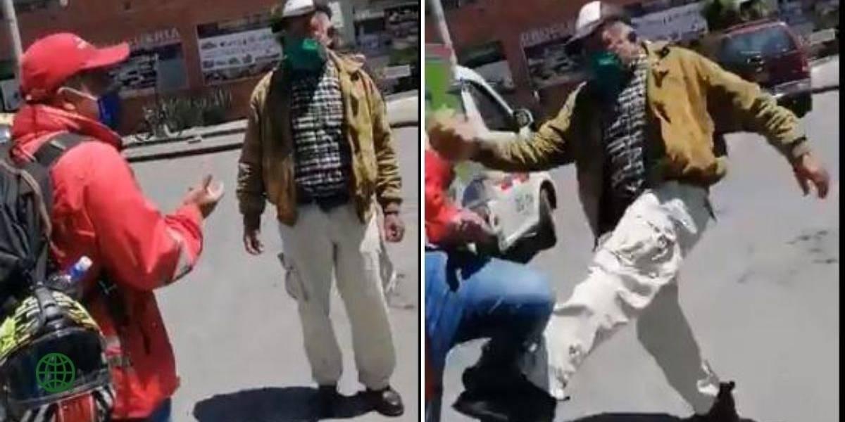 (VIDEO) Con golpes respondió adulto mayor a funcionario que le pidió usar bien el tapabocas
