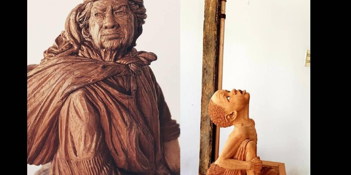 """""""Juanita"""" y """"La última gota"""", de Jorge Luis Villalba, finalistas en concurso de esculturas de madera en Taiwán"""