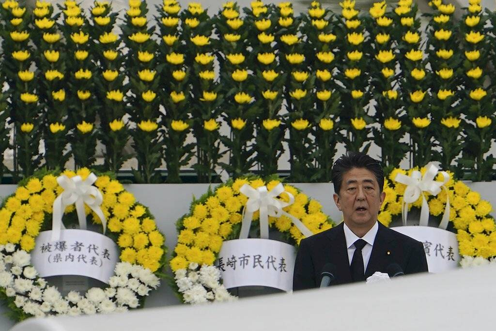 Shinzo Abe, primer ministro de Japón, durante la ceremonia