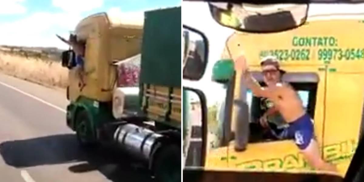 Caminhoneiro é detido por vídeo em que dirige com corpo fora do veículo
