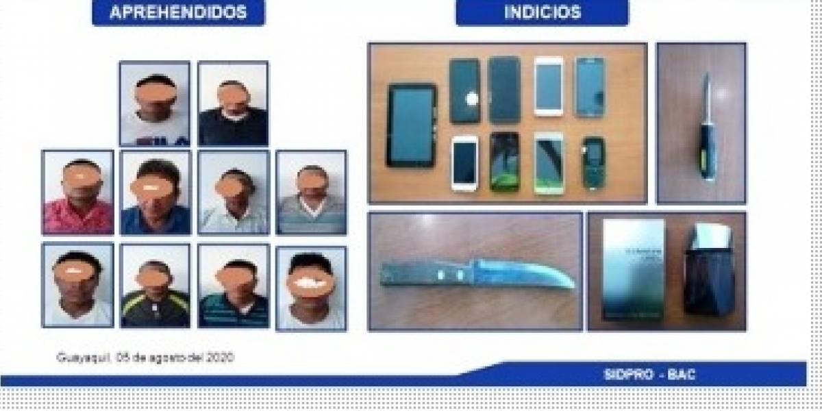 Policía atrapa a 10 sospechosos por los delitos de robo en Guayaquil
