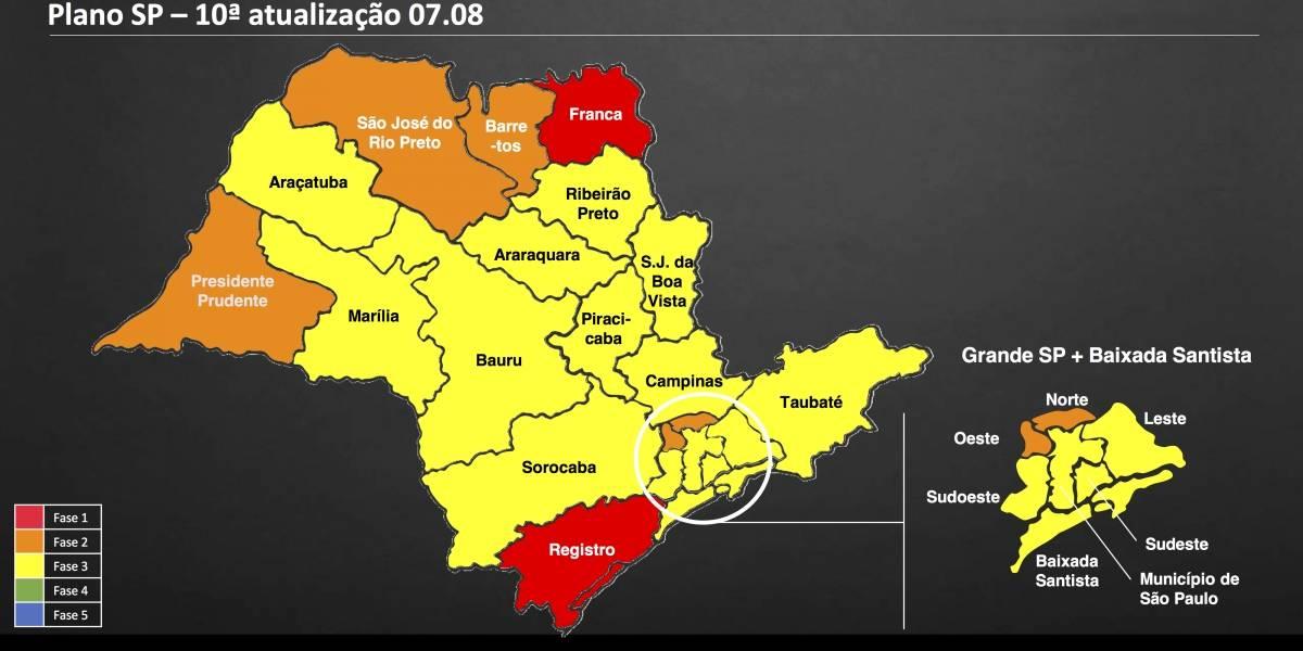 Capital paulista continua na fase amarela do Plano São Paulo