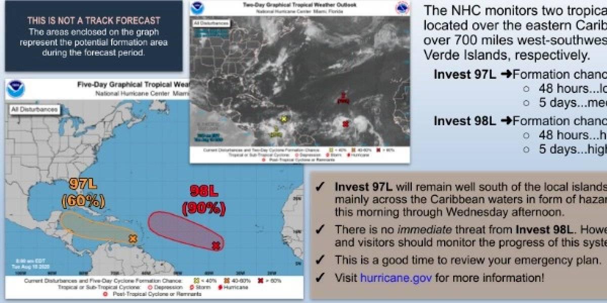 Expertos en el tiempos vigilantes a dos sistemas tropicales en el Caribe