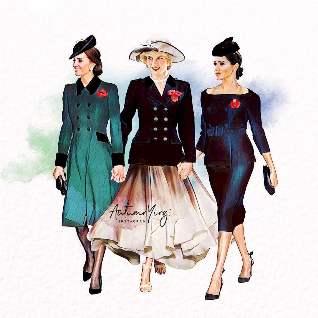 La princesa Diana junto a sus nueras