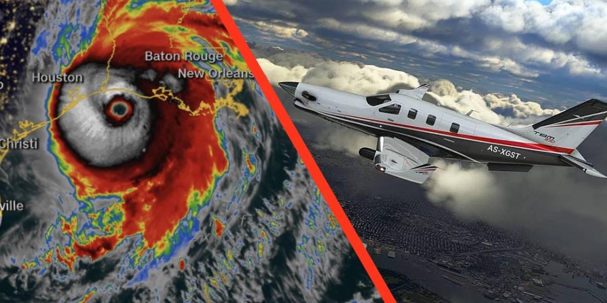 Microsoft Flight Simulator 2020: la gente está volando hacía al huracán Laura