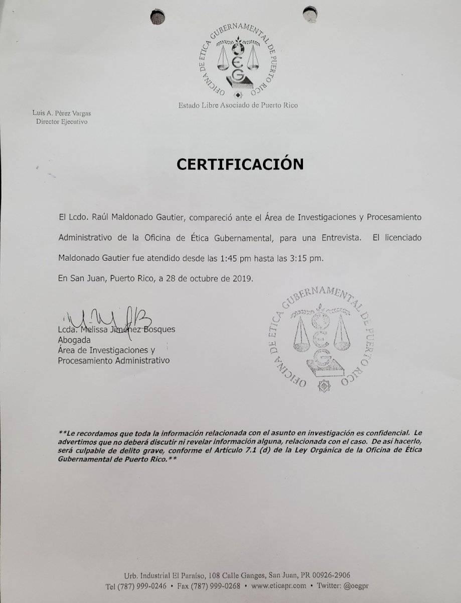 Certificación OE - Raúl Maldonado