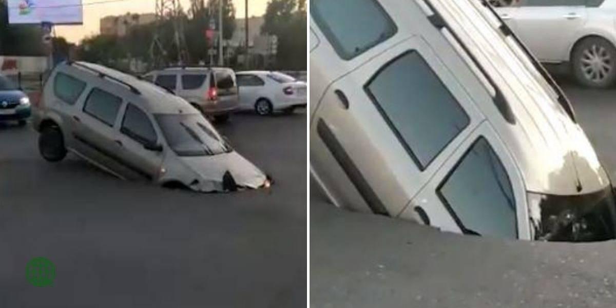 """¡Qué susto! Automóvil fue """"tragado"""" por enorme hueco"""