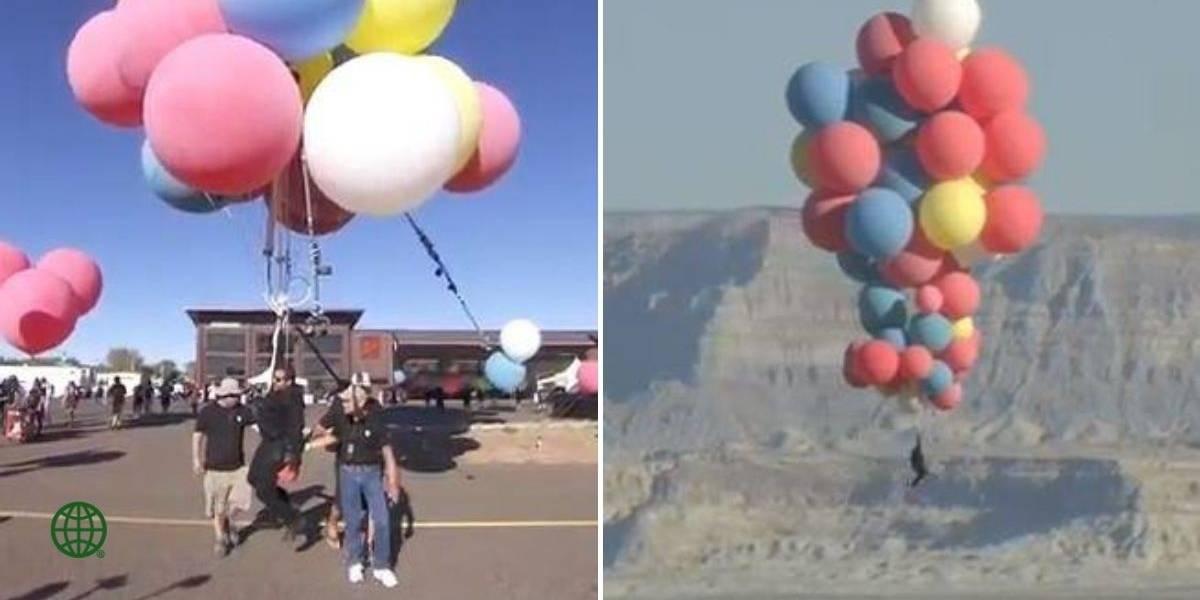 Famoso mago voló sobre el desierto usando 52 globos de helio, al mejor estilo de 'Up'