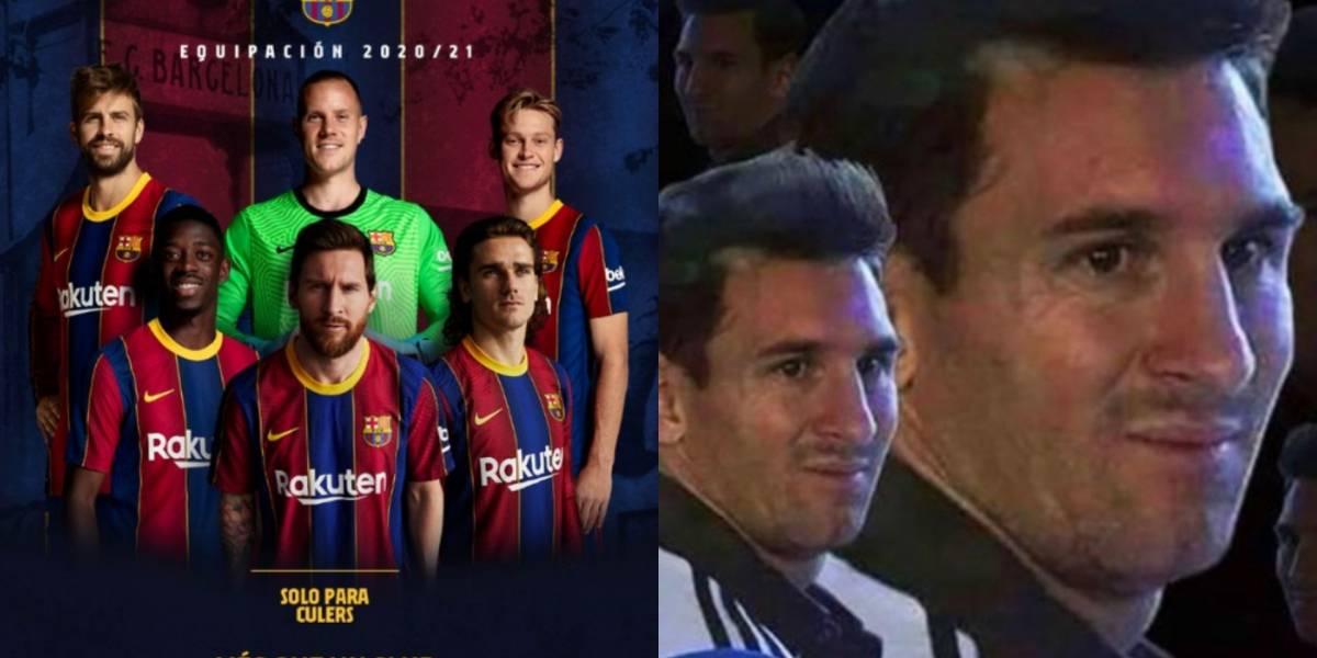 Messi protagonizó el lanzamiento de la nueva camiseta del Barcelona y llovieron memes