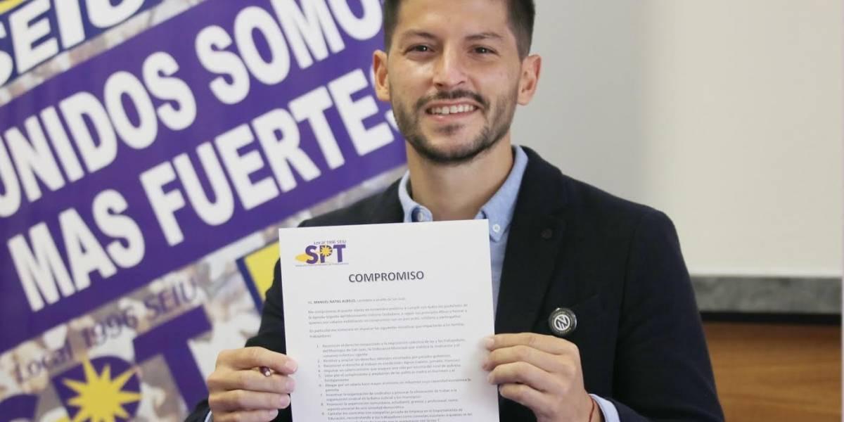 Manuel Natal se compromete con defender derechos de los trabajadores y aumentar el salario mínimo en San Juan