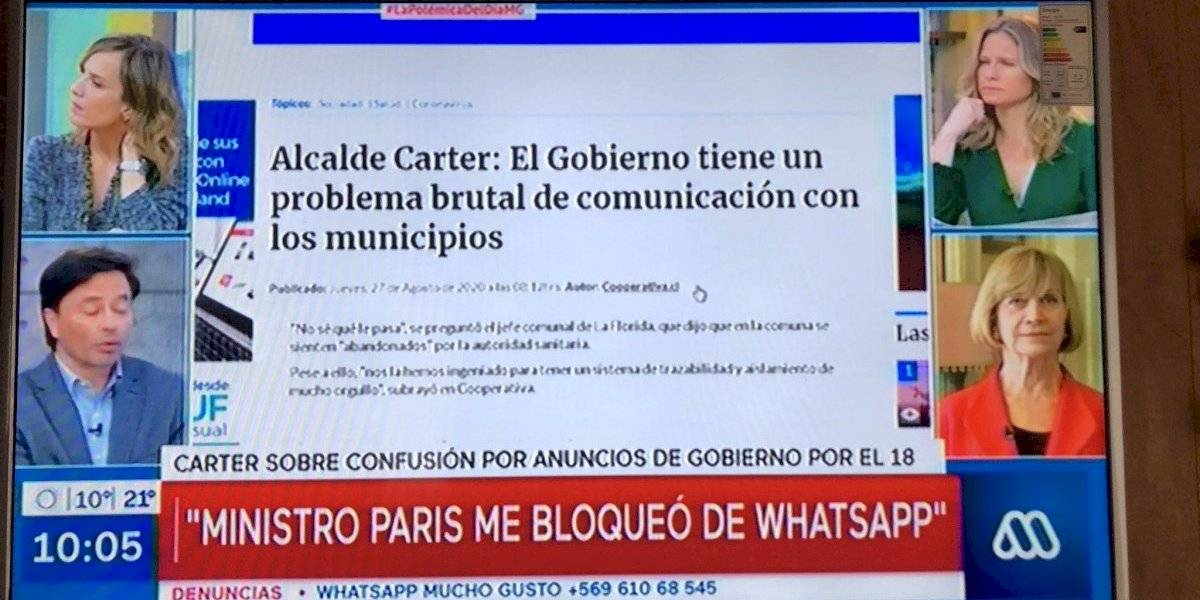 "Alcalde Carter acusó a ministro Paris: ""Me bloqueó de WhatsApp"""