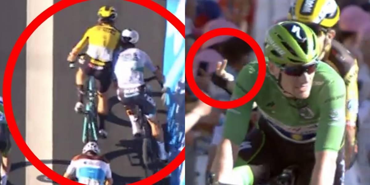VIDEO   ¡Se ganó el reproche de otro corredor! Sanción a Sagan por peligrosa maniobra en el embalaje