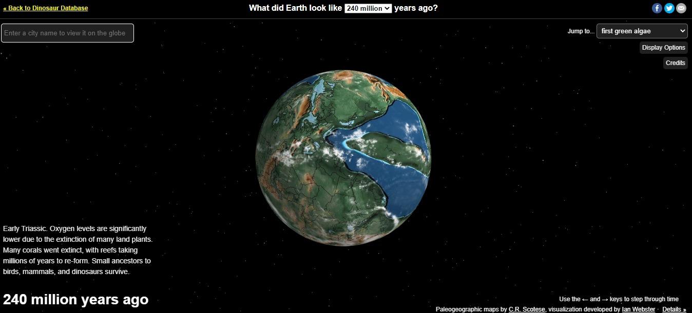 Mapa del planeta y su evolución, también sobre los dinosaurios.