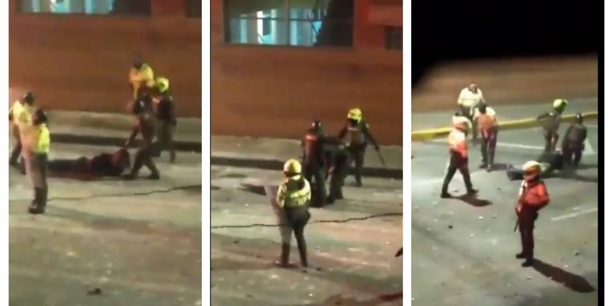 (VIDEO) Policías dejan inconsciente a hombre, lo arrastran por la calle y al final lo dejan tirado