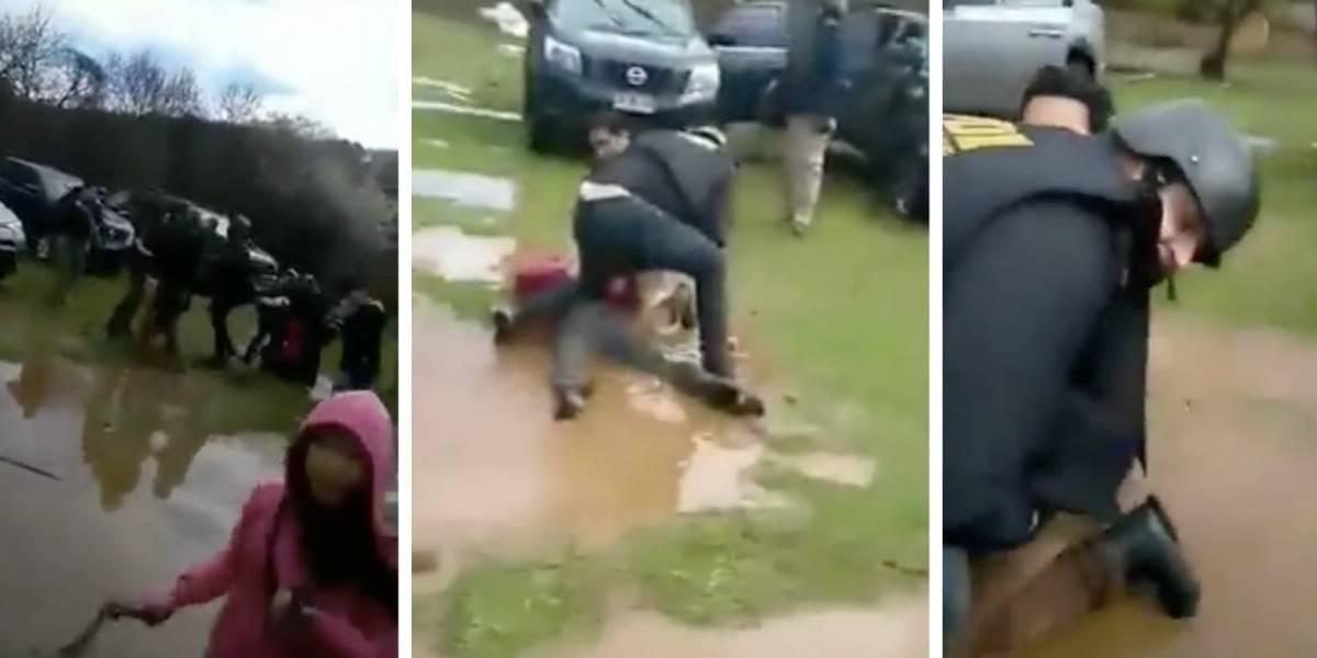 Registran violenta agresión de funcionarios de la PDI a menores de edad en comunidad mapuche