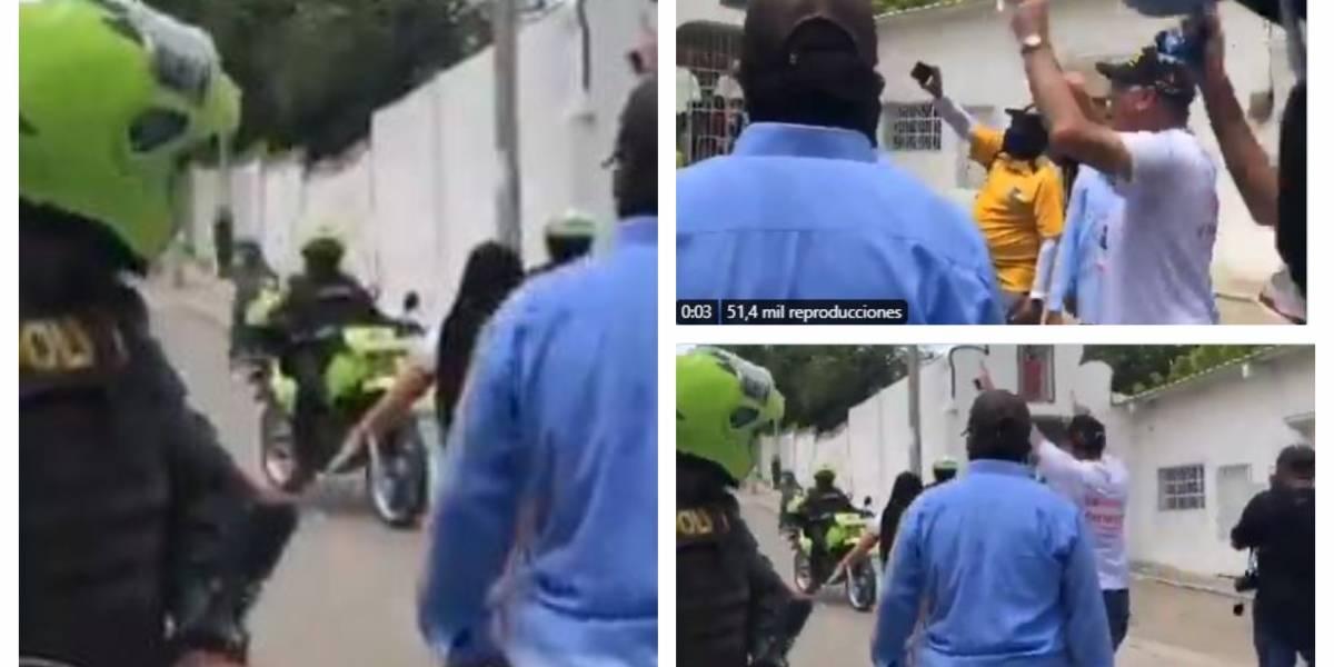 (VIDEO) La vaciada del alcalde de Cartagena a policías en manifestaciones
