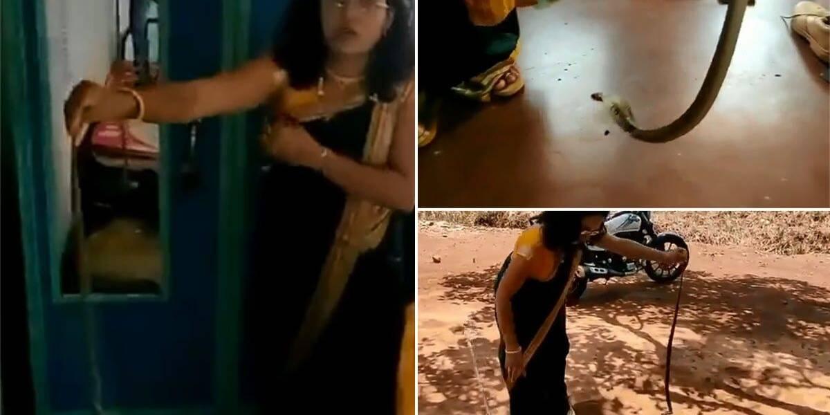 Vídeo de mulher capturando cobra com as próprias mãos impressiona o Twitter; ela estava se preparando para um casamento
