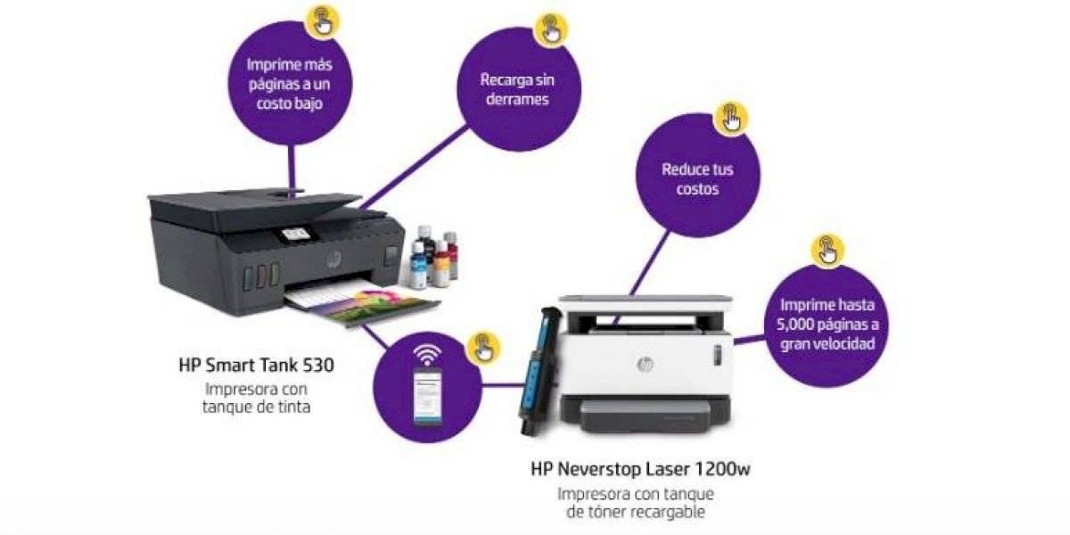 Infografía sobre HP Neverstop Laser, la única impresora con tanque de tóner recargable