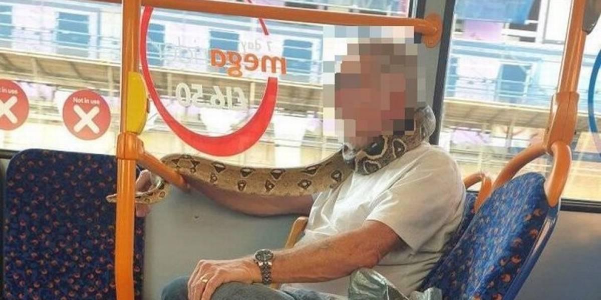 Homem é flagrado usando cobra como máscara no transporte público