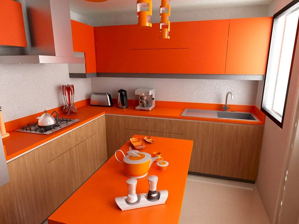 Los tonos cálidos como el naranja y el rojo son ideales para la cocina.