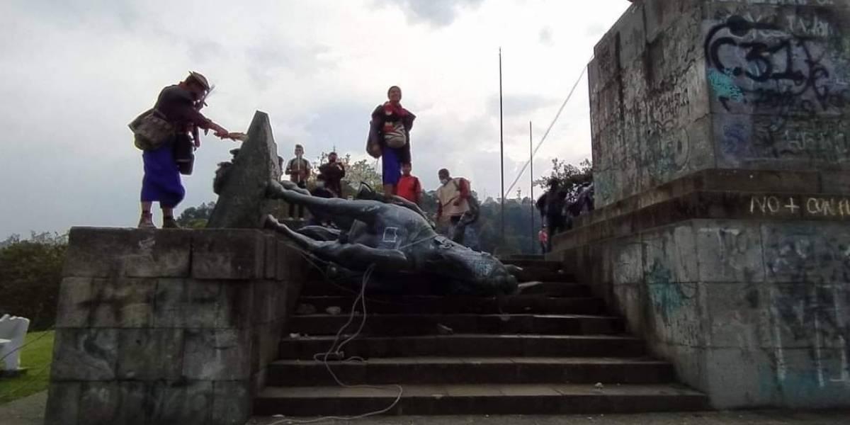 Polémica por derrumbe de estatua en Popayán