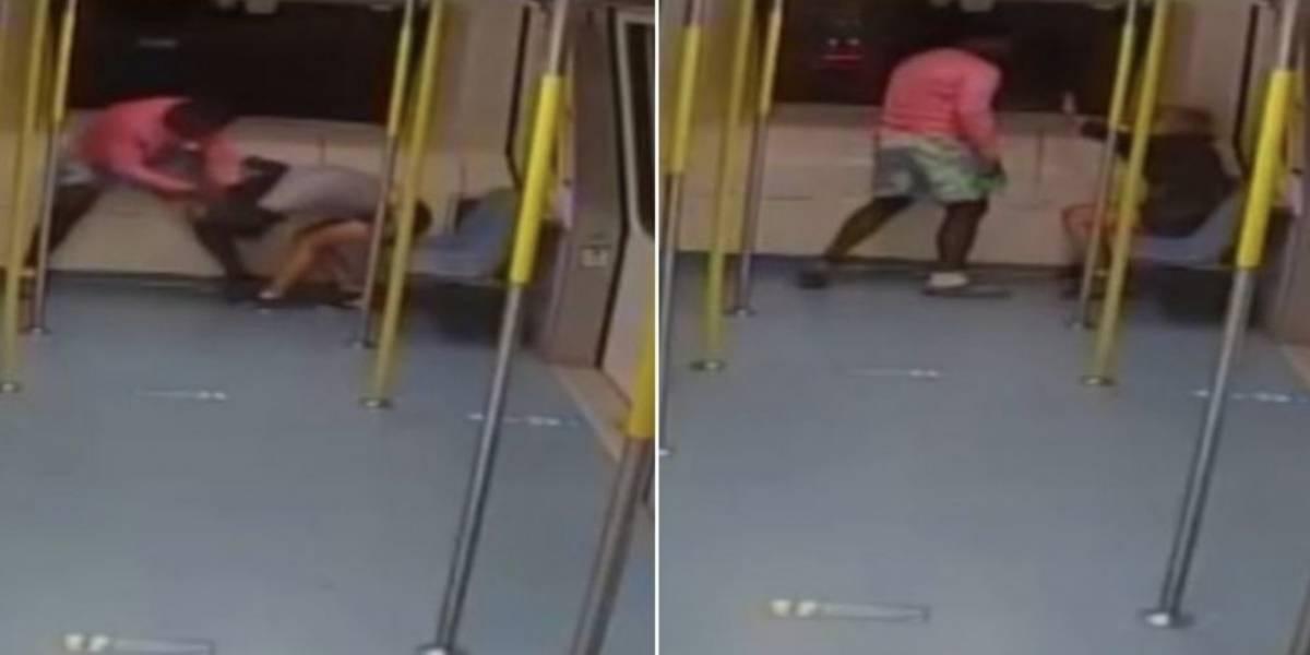 (Video) Hombre propinó golpiza a colombiana en un tren de Miami