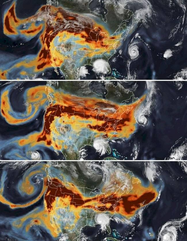 Mapa satelital de incendios y huracanes en Estados Unidos.