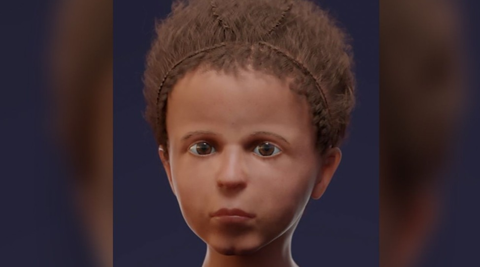 Reconstrucción computarizada del rostro del niño.