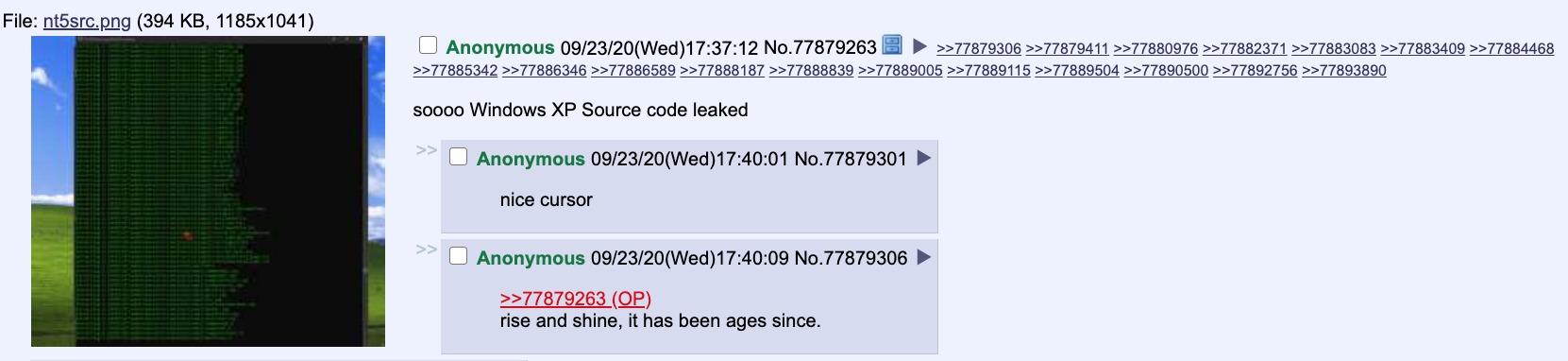 Windows XP 4chan filtración
