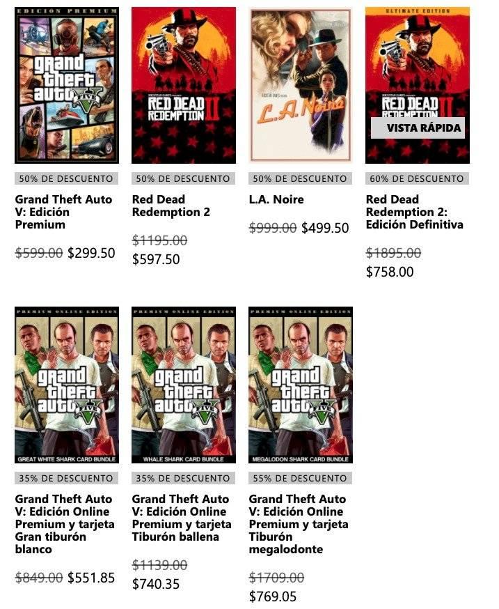 Xbox One Rockstar Games descuentos