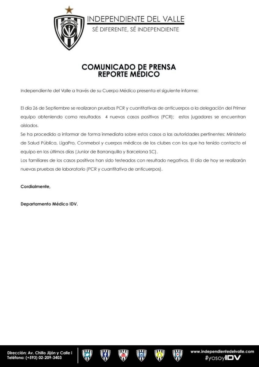 Independiente del Valle suma cuatro nuevos contagios de COVID-19 en sus jugadores