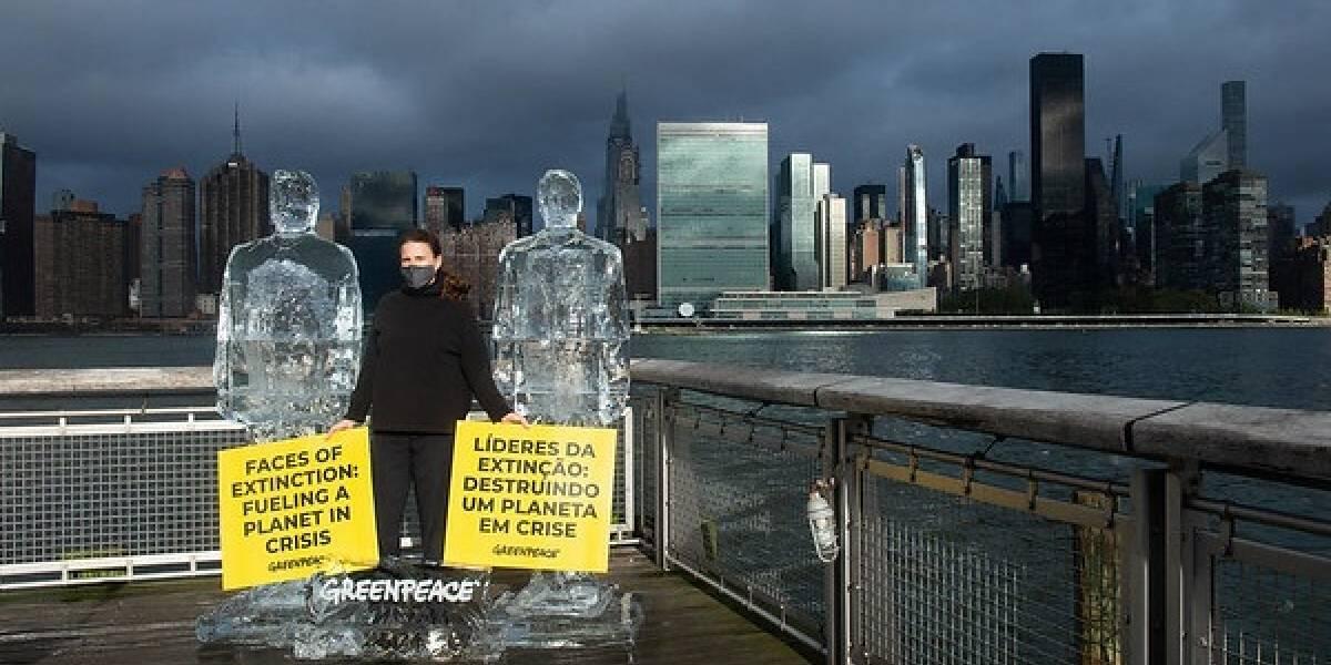 """Brasil.- Greenpeace """"derrite"""" a Trump y Bolsonaro durante la Cumbre de Biodiversidad de la ONU"""
