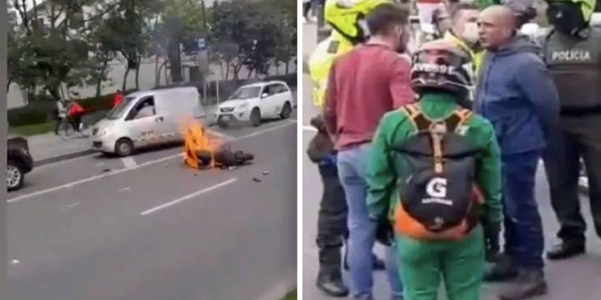 Queman moto de presuntos fleteros que habrían robado a un conductor en Bogotá
