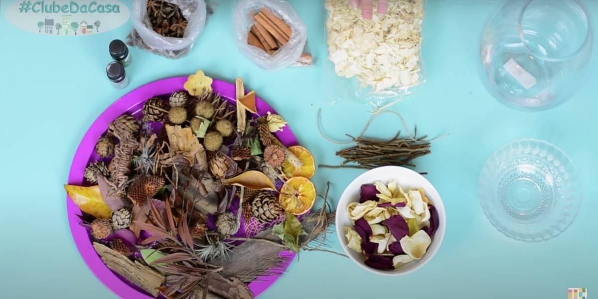 Aromatizante natural para ambientes variados utilizando folhas e frutas secas