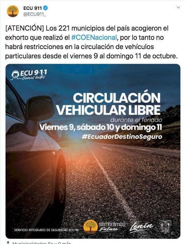 Circulación vehicular en Ecuador