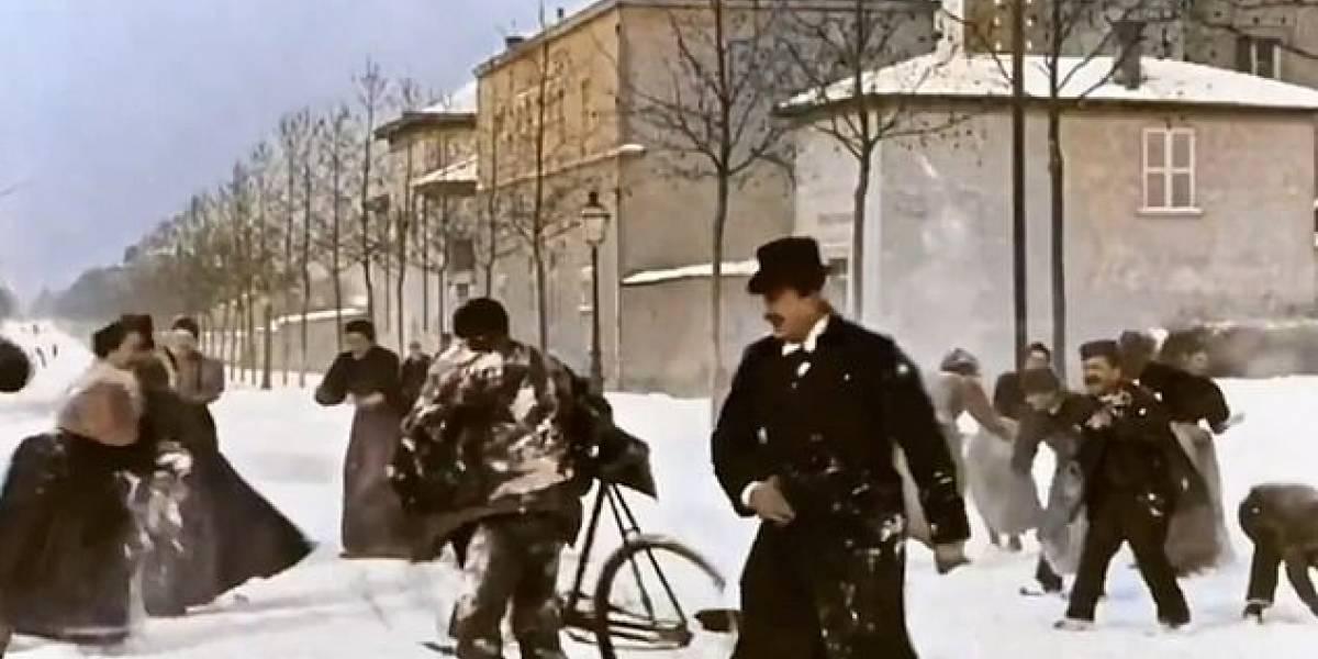 124 anos de idade: clipe que mostra guerra de bolas de neve na França em 1896 é restaurado em cores e viraliza