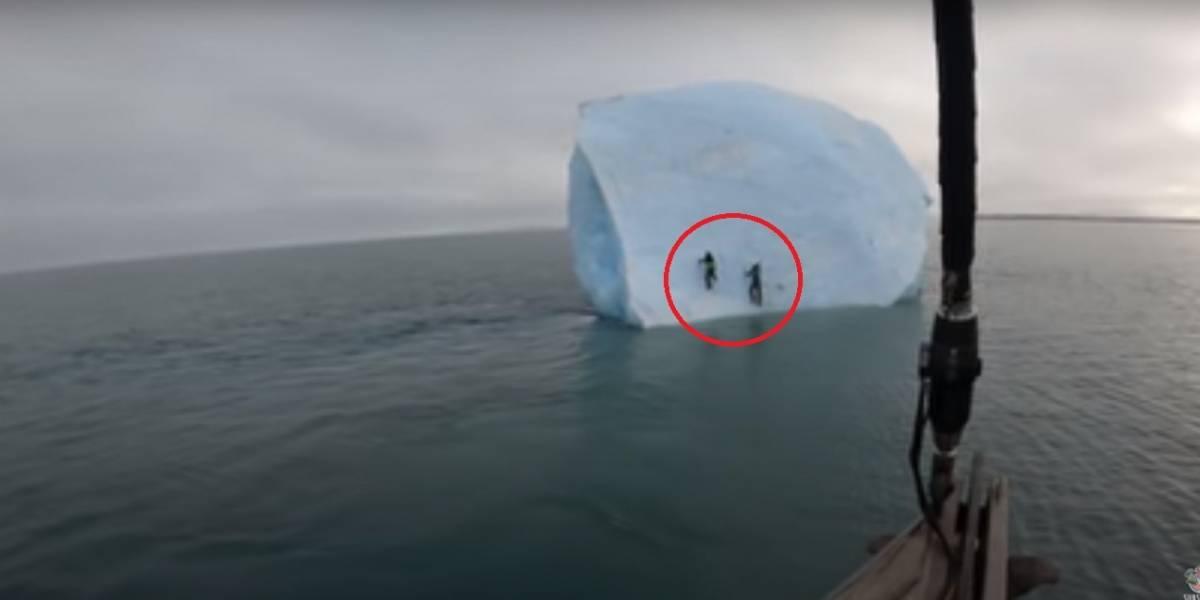 Vídeo registra momento em que iceberg gigante tomba em cima de dois exploradores