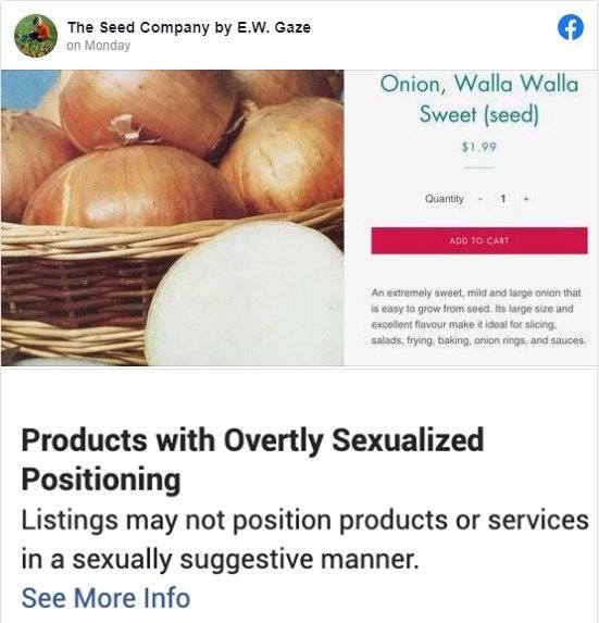 La advertencia de Facebook a las cebollas