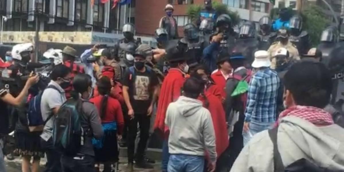 Incidentes en monumento a Isabel la Católica en Av. 12 de octubre en Quito