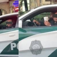 Policía se enoja porque no lo dejan desayunar luego de estacionarse en ciclovía