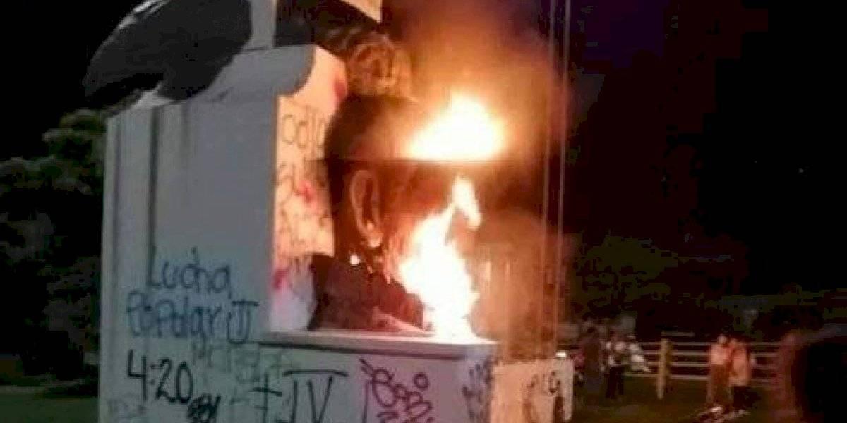 En Ibagué también atacaron una estatua en protesta por la conquista española