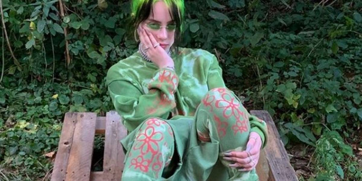 Billie Elish sorprende en un camisón transparente estampado