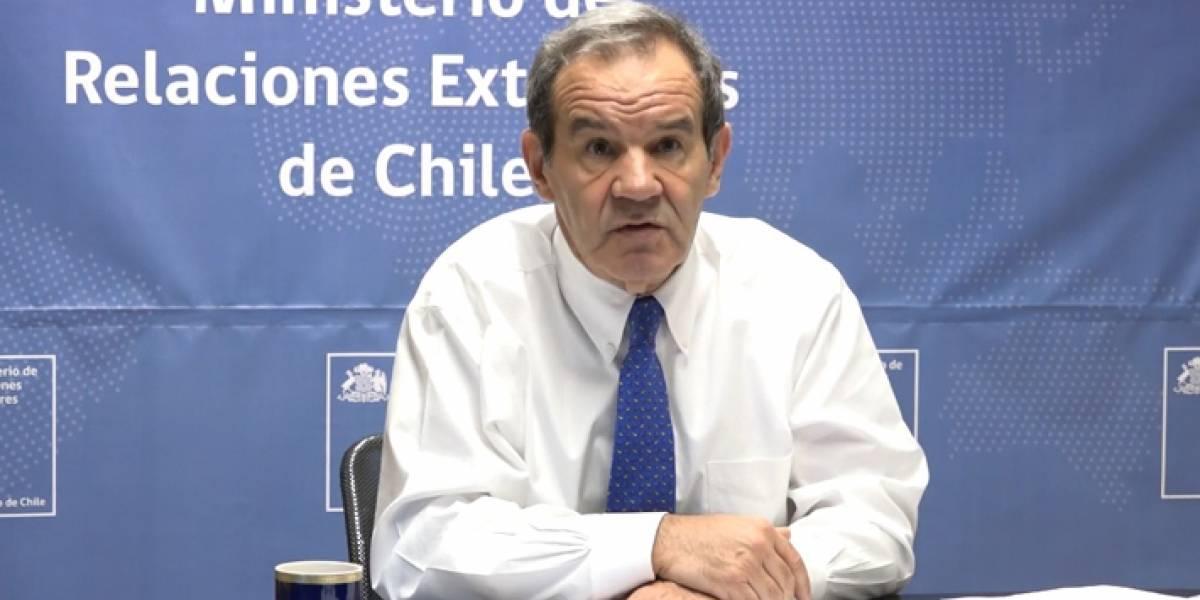 """Canciller chileno a embajadores en el extranjero: """"El desafío de Chile es encauzar su proceso político en un ambiente de normalidad y paz social"""""""