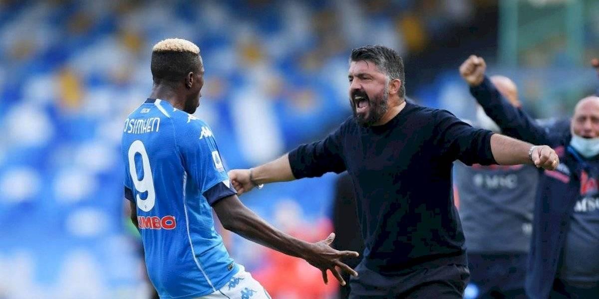 Gattuso festeja actuación de Oshimen sobre los goles de Hirving Lozano