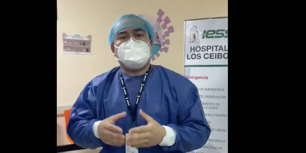 """""""No nos encontramos en un rebrote. Tenemos la misma cantidad de pacientes"""": Gerente del IESS Los Ceibos desmiente video que circula en redes"""