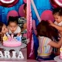 Festejada jalonea a niña por soplar la vela del pastel; usuarios llenan las redes sociales de memes