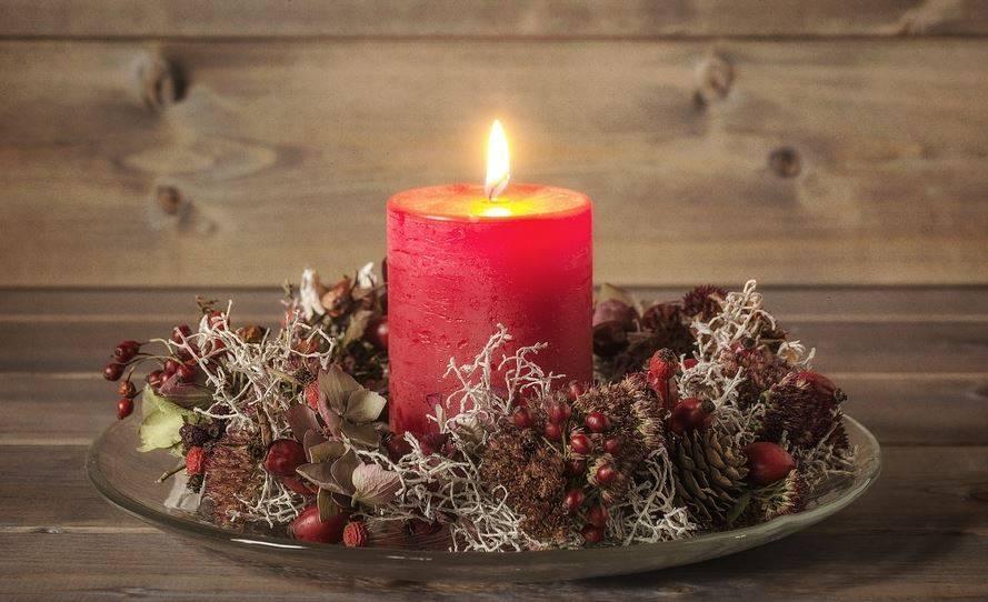 Flores secas y velas