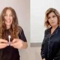 Thalía e Itatí Cantoral recrean video de las niñas que pelean