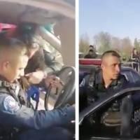 ¡Qué coraje! Policía es captado en presunto estado de ebriedad dentro de patrulla